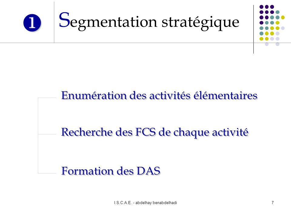 I.S.C.A.E. - abdelhay benabdelhadi7 S egmentation stratégique Enumération des activités élémentaires Recherche des FCS de chaque activité Formation de