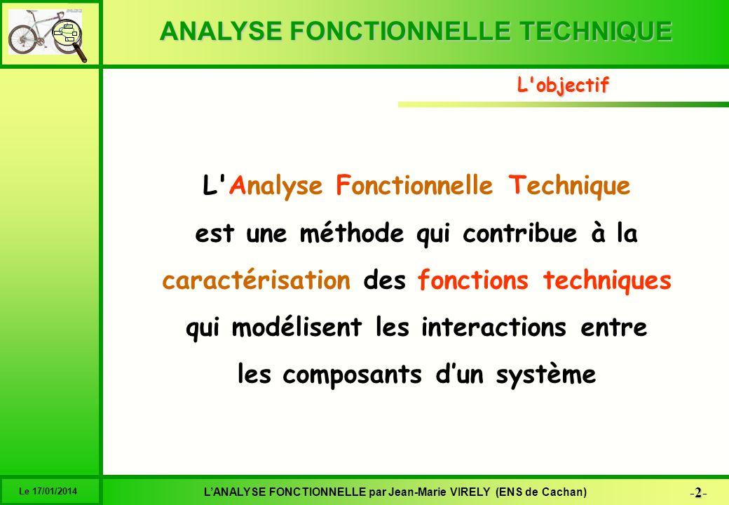 ANALYSE FONCTIONNELLE TECHNIQUE 33 -33- LANALYSE FONCTIONNELLE par Jean-Marie VIRELY (ENS de Cachan) Le 17/01/2014 6 1 2 3 4 5 Système Relation Fonction Composant Fonction de conception C des C des CF Les interactions sont modélisées par des fonctions techniques Le graphe du produit Une solution est constituée de composants mis en interaction dans un but précis Le bloc diagramme précise lorganisation des interactions Composant 1 Composant 3 Composant 4Composant 2 FT1 FT2 FT3 FT4 Fonction 3