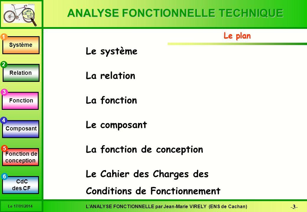ANALYSE FONCTIONNELLE TECHNIQUE 4-4-4-4- LANALYSE FONCTIONNELLE par Jean-Marie VIRELY (ENS de Cachan) Le 17/01/2014 6 1 2 3 4 5 Système Relation Fonction Composant Fonction de conception C des C des CF La définition Une solution est la matérialisation physique du produit, réalisée par lentreprise, Le système est le modèle de la solution Système 1 pour la satisfaction dun besoin Lobjet est danalyser une solution existante Pour ensuite imaginer la satisfaction du besoin du client