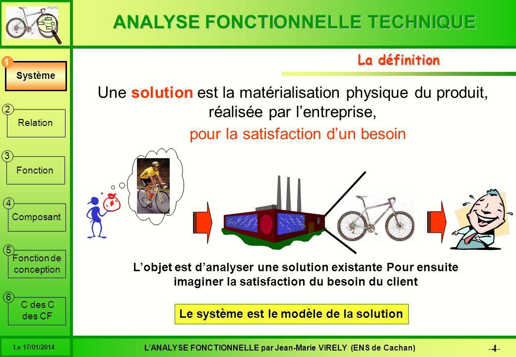 ANALYSE FONCTIONNELLE TECHNIQUE 35 -35- LANALYSE FONCTIONNELLE par Jean-Marie VIRELY (ENS de Cachan) Le 17/01/2014 6 1 2 3 4 5 Système Relation Fonction Composant Fonction de conception C des C des CF FTExpressionCritèreValeurlimite 1Réaliser un assemblage réglableEffort axial< 1200 N Couple maxi70 N.m+/- 5 Temps de réglage< 30 s Jeuaucun 2Réaliser un guidage en rotationVitesse de rotation< 370 tr/min Effort radial300 N+/- 10 JeuAucun Couple résistant< 0,1 N.m 4Réaliser un guidage en rotationJeuAucun 5Assurer lentraînementCouple maxi 20 N.m +/- 5 Glissementaucun 6Assurer lentraînementCouple maxi60 N.m+/- 5 Glissementaucun Lexemple Fonction 3
