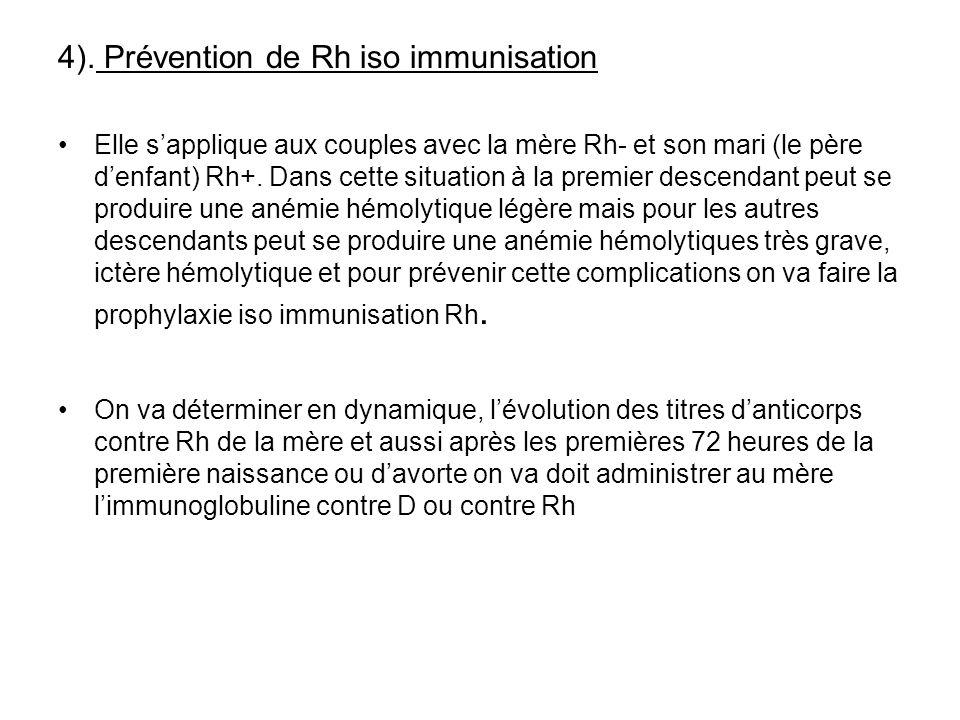 4). Prévention de Rh iso immunisation Elle sapplique aux couples avec la mère Rh- et son mari (le père denfant) Rh+. Dans cette situation à la premier