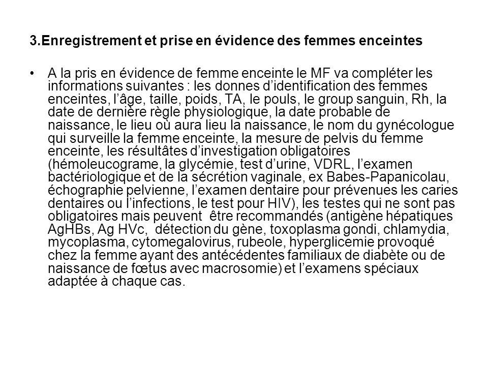 3.Enregistrement et prise en évidence des femmes enceintes A la pris en évidence de femme enceinte le MF va compléter les informations suivantes : les