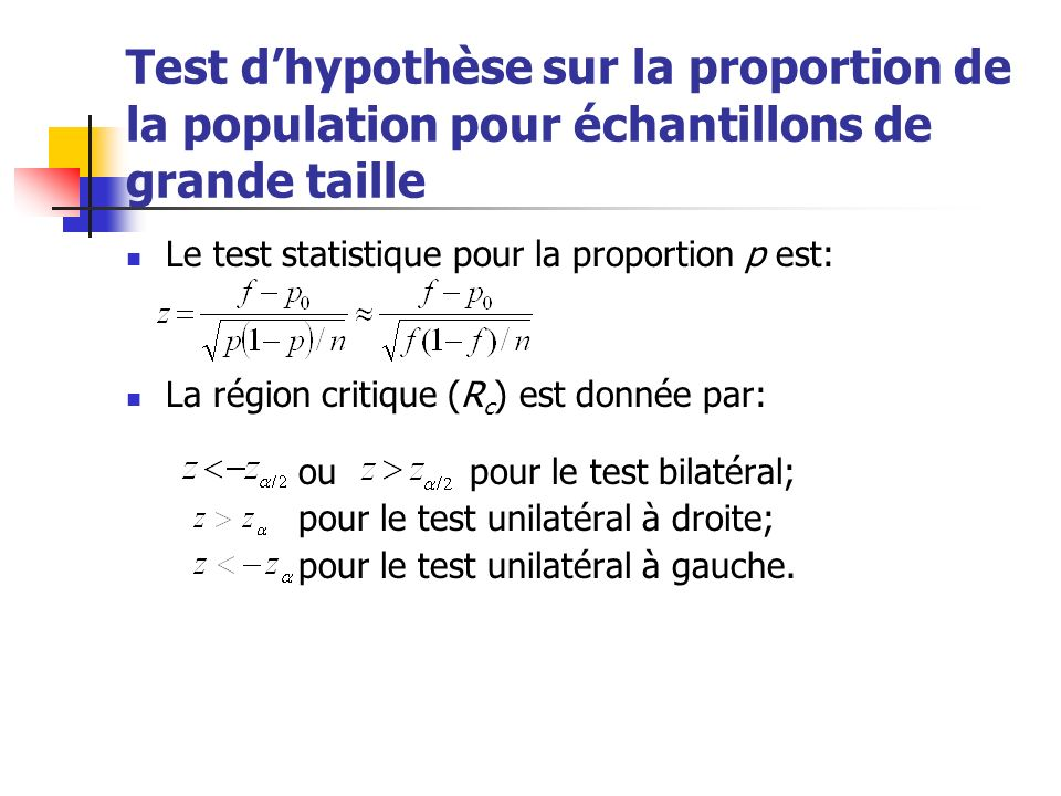 Test dhypothèse sur la proportion de la population pour échantillons de grande taille Le test statistique pour la proportion p est: La région critique