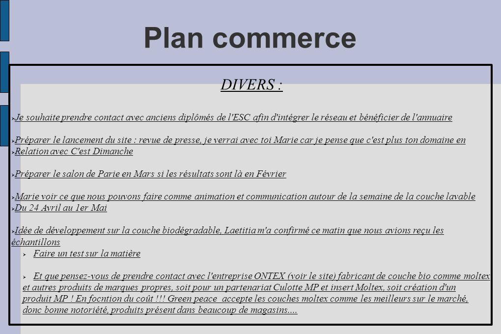 Plan commerce DIVERS : Je souhaite prendre contact avec anciens diplômés de l'ESC afin d'intégrer le réseau et bénéficier de l'annuaire Préparer le la