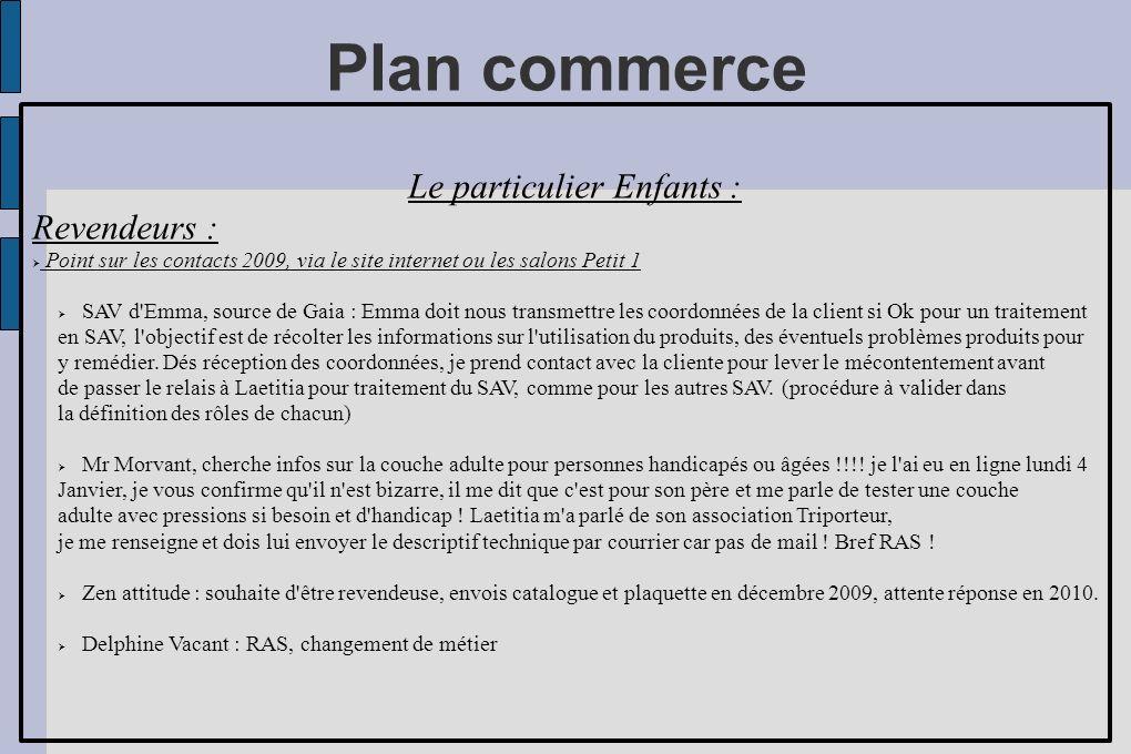 Plan commerce Le particulier Enfants : Revendeurs : Point sur les contacts 2009, via le site internet ou les salons Petit 1 Servanne Paris, problèmes persos à contacter ultérieurement.