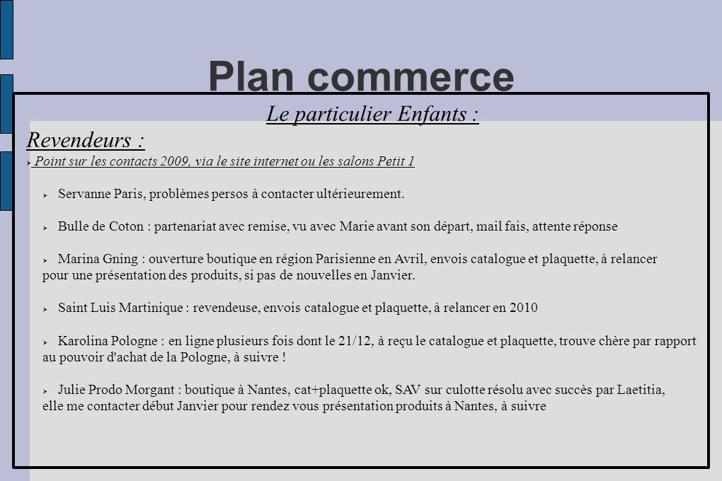 Plan commerce Le particulier Enfants : Revendeurs : Point sur les contacts 2009, via le site internet ou les salons Petit 1 Servanne Paris, problèmes