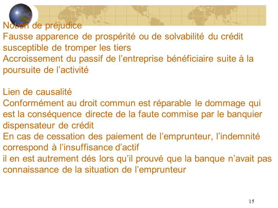 15 Notion de préjudice Fausse apparence de prospérité ou de solvabilité du crédit susceptible de tromper les tiers Accroissement du passif de lentrepr
