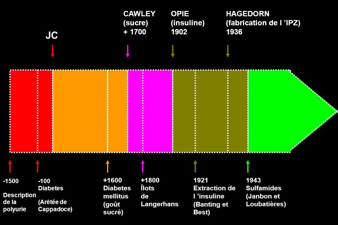 HAGEDORN (fabrication de l IPZ) 1936 JC OPIE (insuline) 1902 CAWLEY (sucre) + 1700 -1500 Description de la polyurie 1943 Sulfamides (Janbon et Loubati