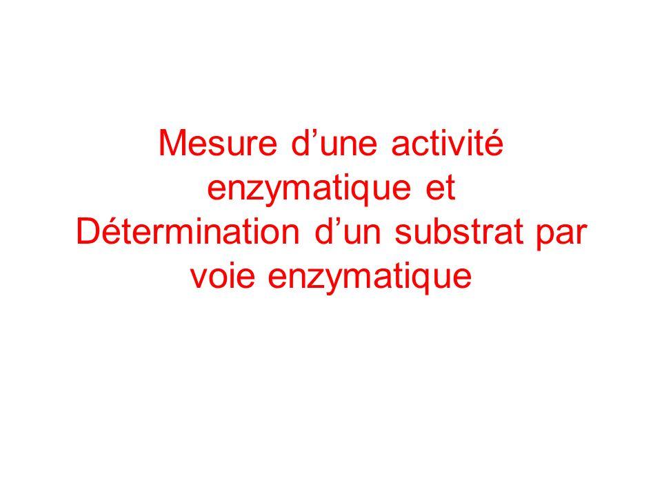 Mesure dune activité enzymatique et Détermination dun substrat par voie enzymatique