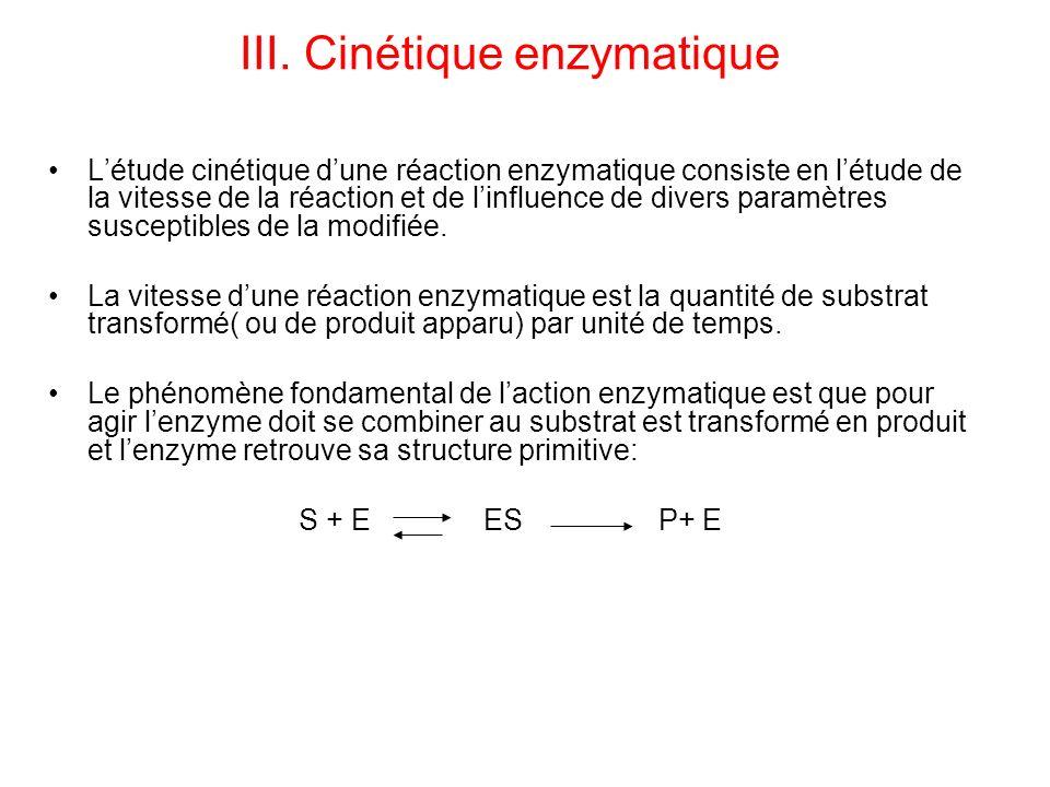 III. Cinétique enzymatique Létude cinétique dune réaction enzymatique consiste en létude de la vitesse de la réaction et de linfluence de divers param