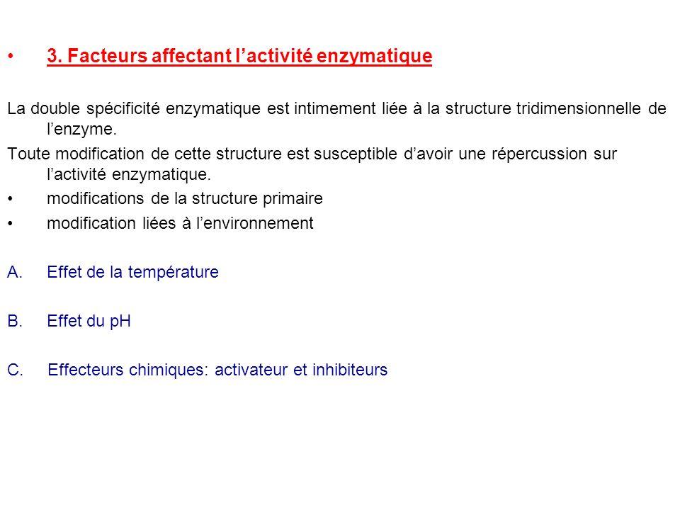 3. Facteurs affectant lactivité enzymatique La double spécificité enzymatique est intimement liée à la structure tridimensionnelle de lenzyme. Toute m