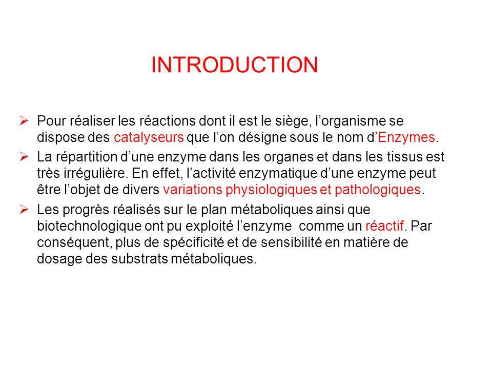 INTRODUCTION Pour réaliser les réactions dont il est le siège, lorganisme se dispose des catalyseurs que lon désigne sous le nom dEnzymes. La répartit