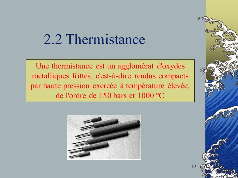2.2 Thermistance Une thermistance est un agglomérat d oxydes métalliques frittés, c est-à-dire rendus compacts par haute pression exercée à température élevée, de l ordre de 150 bars et 1000 °C 10