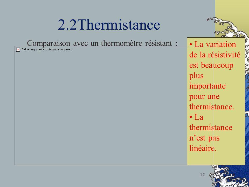 2.2Thermistance La variation de la résistivité est beaucoup plus importante pour une thermistance.
