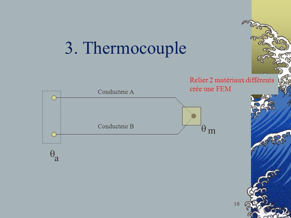 3. Thermocouple m a Conducteur A Conducteur B Relier 2 matériaux différents crée une FEM 16