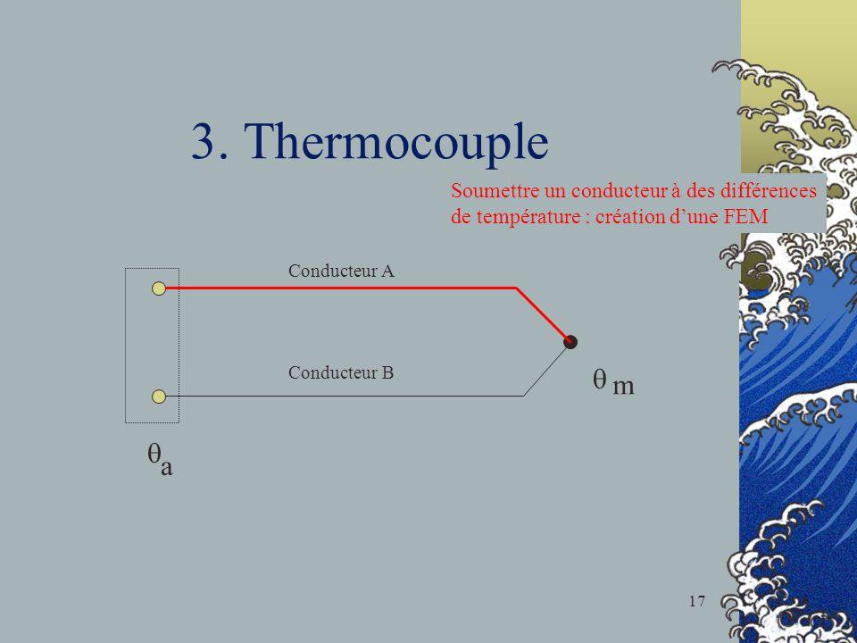 3. Thermocouple m a Conducteur A Conducteur B Soumettre un conducteur à des différences de température : création dune FEM 17