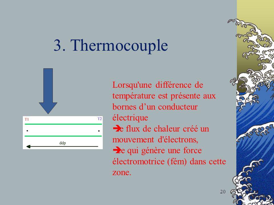 3. Thermocouple Lorsqu'une différence de température est présente aux bornes dun conducteur électrique le flux de chaleur créé un mouvement d'électron