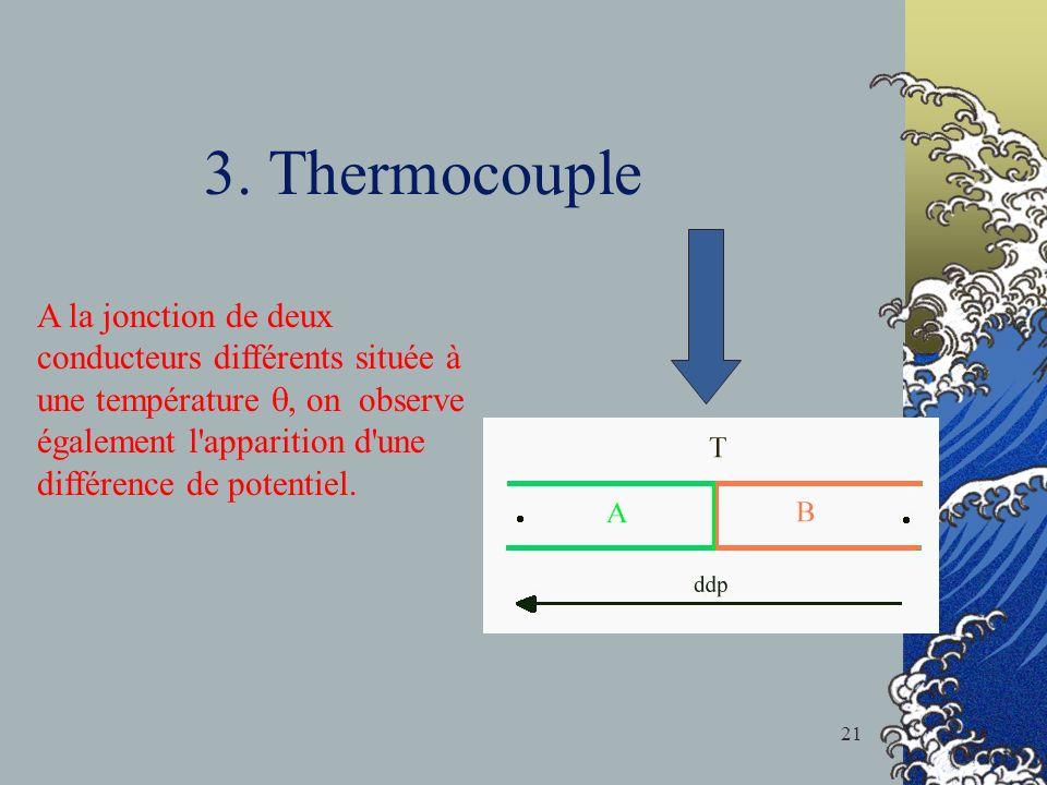 3. Thermocouple A la jonction de deux conducteurs différents située à une température, on observe également l'apparition d'une différence de potentiel