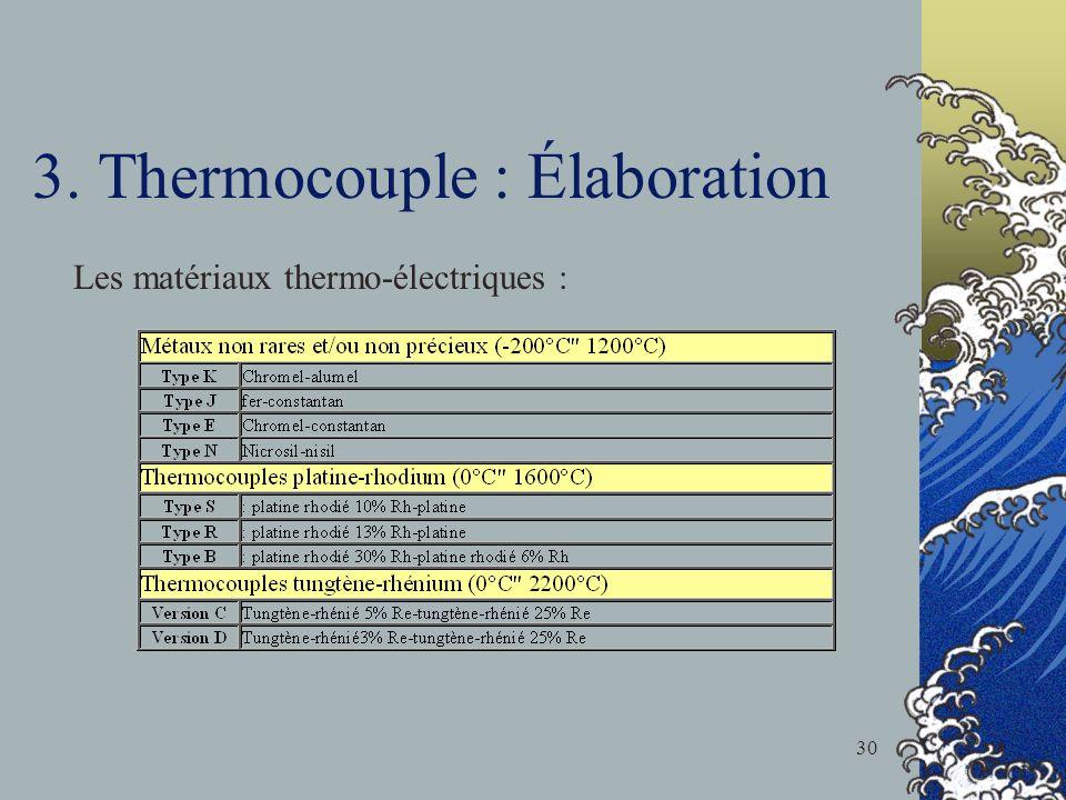 3. Thermocouple : Élaboration Les matériaux thermo-électriques : 30