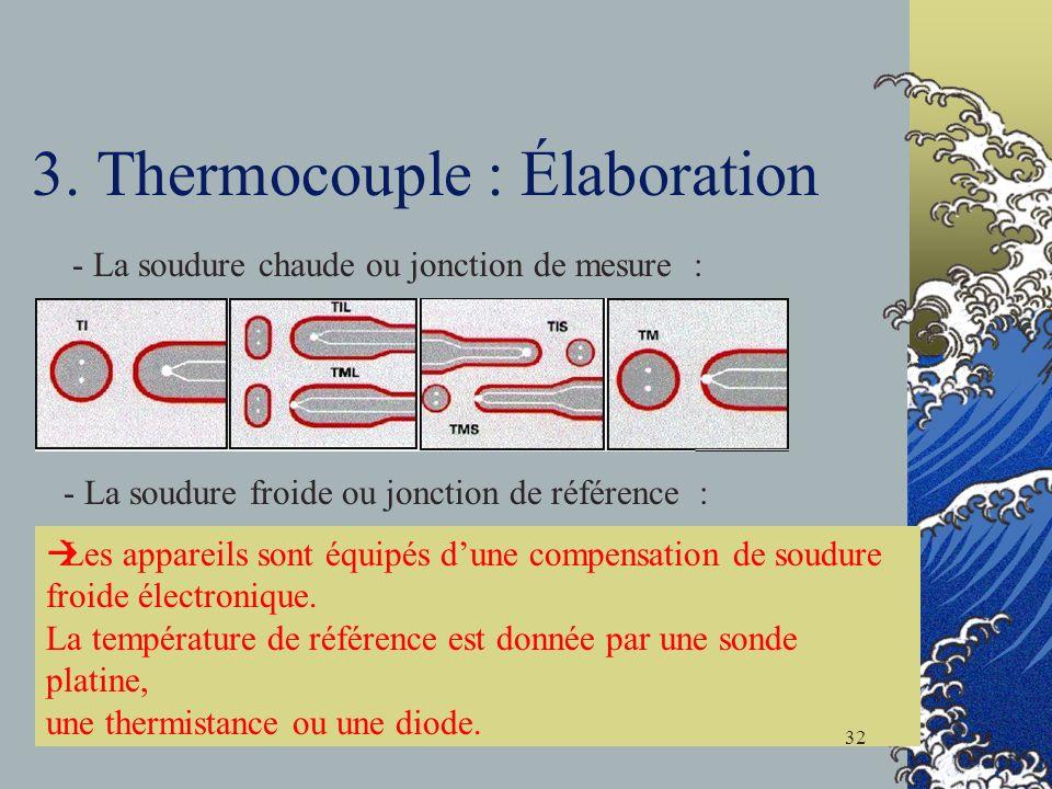 3. Thermocouple : Élaboration - La soudure chaude ou jonction de mesure : - La soudure froide ou jonction de référence : Les appareils sont équipés du