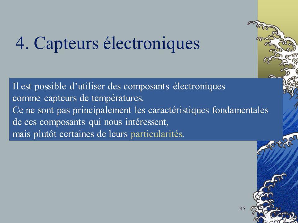 4. Capteurs électroniques Il est possible dutiliser des composants électroniques comme capteurs de températures. Ce ne sont pas principalement les car