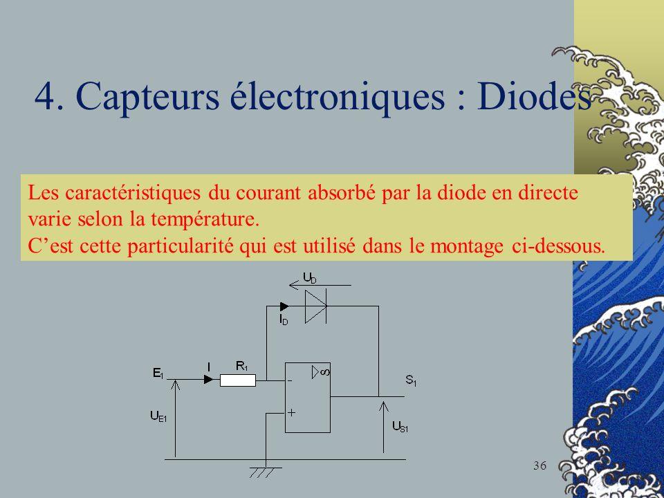 4. Capteurs électroniques : Diodes Les caractéristiques du courant absorbé par la diode en directe varie selon la température. Cest cette particularit