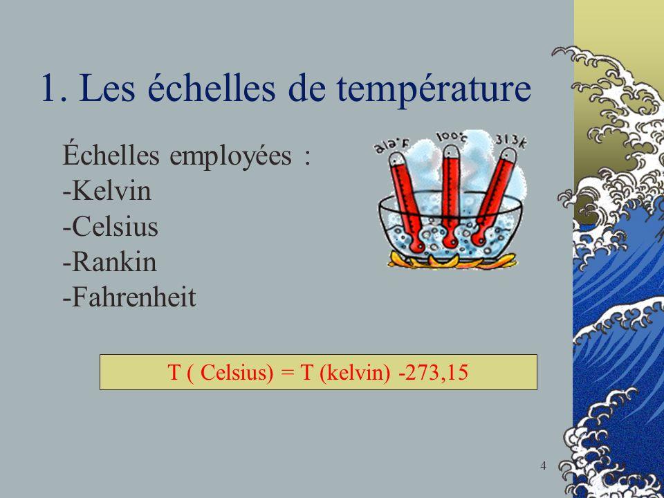 1. Les échelles de température Échelles employées : -Kelvin -Celsius -Rankin -Fahrenheit T ( Celsius) = T (kelvin) -273,15 4
