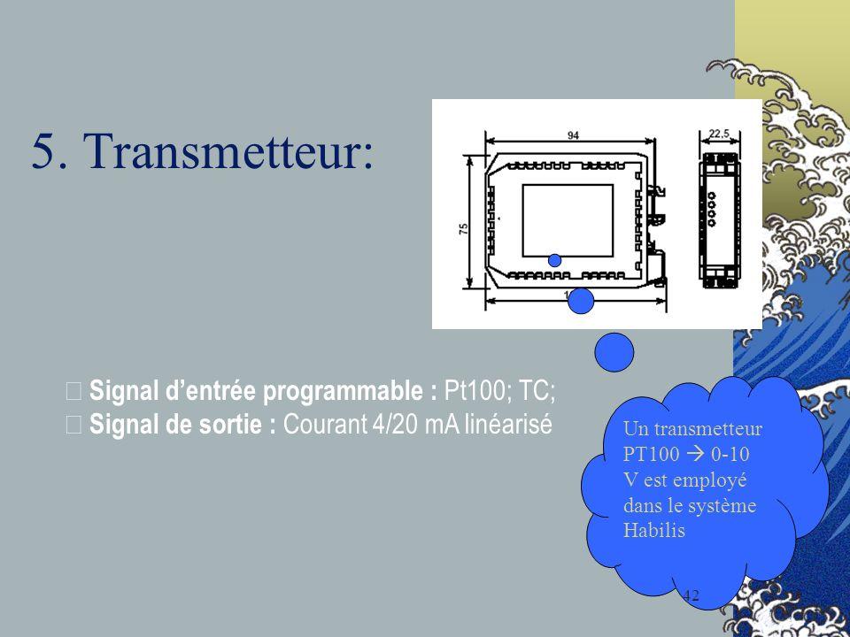 5. Transmetteur: • Signal dentrée programmable : Pt100; TC; • Signal de sortie : Courant 4/20 mA linéarisé Un transmetteur PT100 0-10 V est employé da