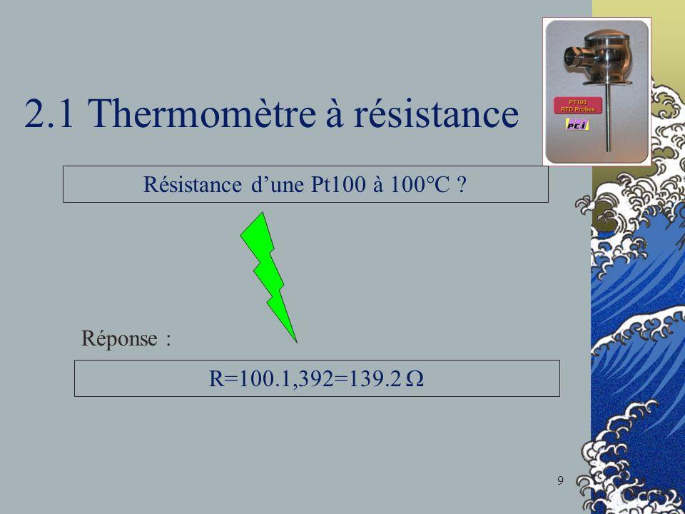 2.1 Thermomètre à résistance Résistance dune Pt100 à 100°C ? R=100.1,392=139.2 Réponse : 9