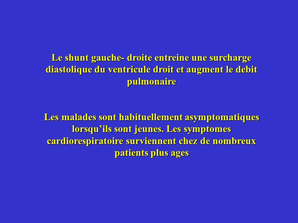 Le shunt gauche- droite entreine une surcharge diastolique du ventricule droit et augment le debit pulmonaire Les malades sont habituellement asymptom