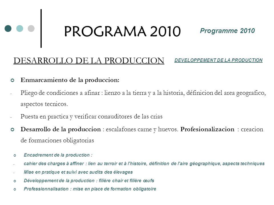 PROGRAMA 2010 Enmarcamiento de la produccion: - Pliego de condiciones a afinar : lienzo a la tierra y a la historia, définicion del area geografico, a