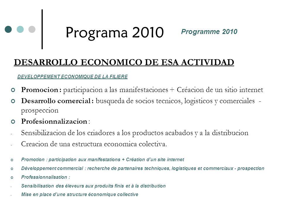 Programa 2010 Promocion : participacion a las manifestaciones + Créacion de un sitio internet Desarrollo comercial : busqueda de socios tecnicos, logi