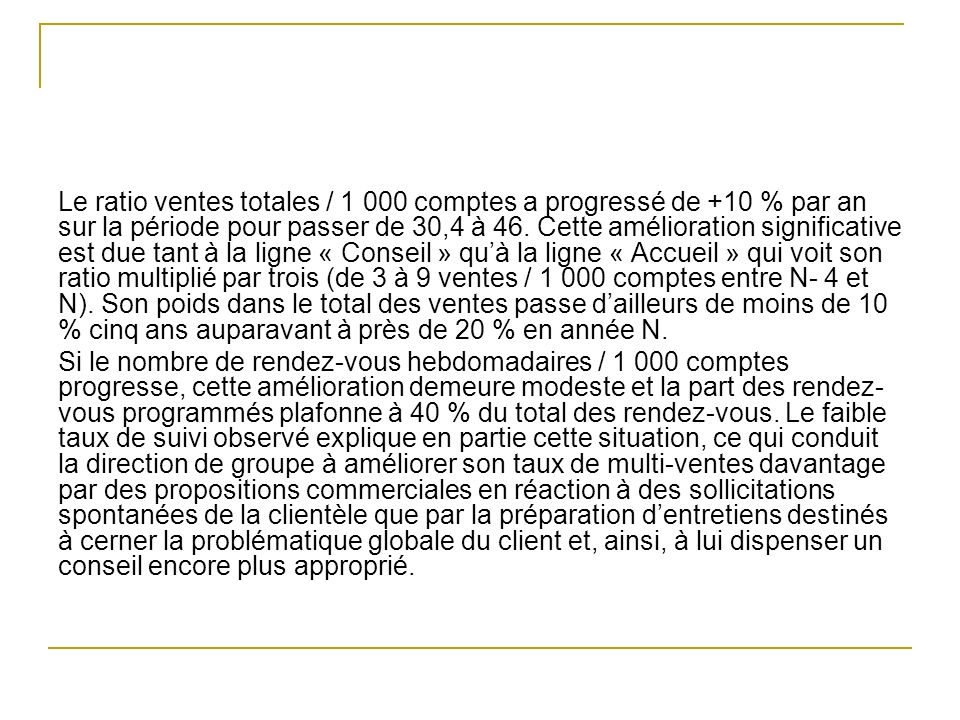 Le ratio ventes totales / 1 000 comptes a progressé de +10 % par an sur la période pour passer de 30,4 à 46.