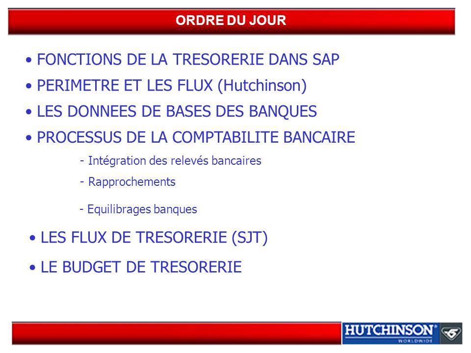 FONCTIONS DE LA TRESORERIE DANS SAP PERIMETRE ET LES FLUX (Hutchinson) LES DONNEES DE BASES DES BANQUES PROCESSUS DE LA COMPTABILITE BANCAIRE - Intégration des relevés bancaires - Rapprochements - Equilibrages banques LES FLUX DE TRESORERIE (SJT) ORDRE DU JOUR LE BUDGET DE TRESORERIE