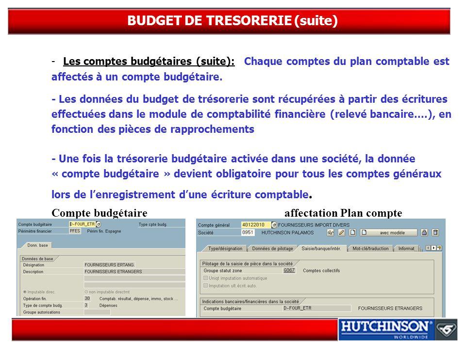 BUDGET DE TRESORERIE (suite) -Les comptes budgétaires (suite): Chaque comptes du plan comptable est affectés à un compte budgétaire. - Les données du