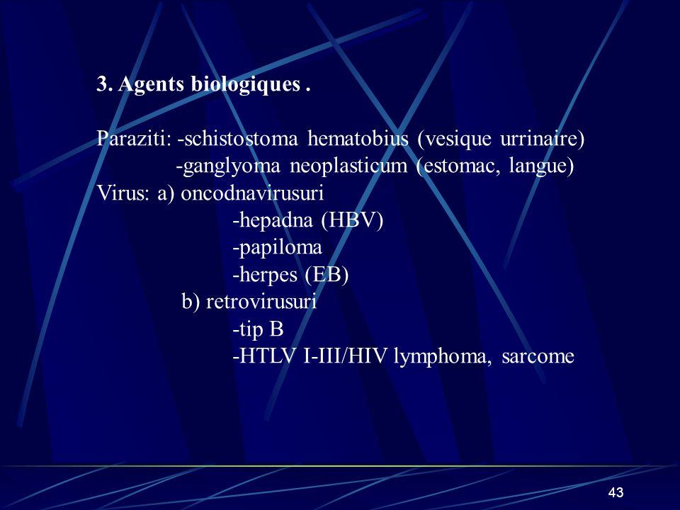 43 3. Agents biologiques. Paraziti: -schistostoma hematobius (vesique urrinaire) -ganglyoma neoplasticum (estomac, langue) Virus: a) oncodnavirusuri -