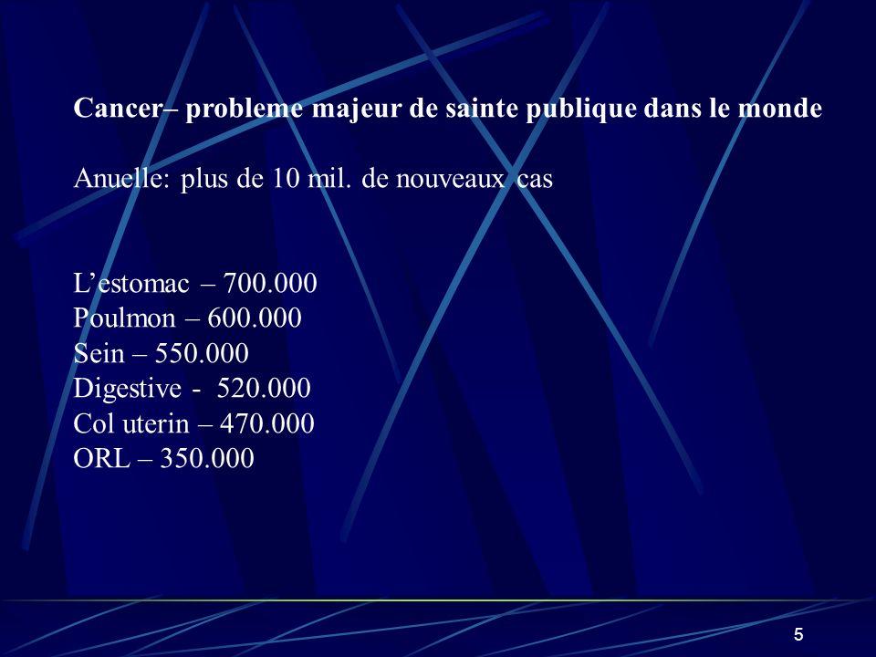6 EPIDEMIOLOGIE DU CANCER: letude de la distribution des localisations tumorales et lidentification des facteurs implique dans letiologie et pathogenie de la maladie.