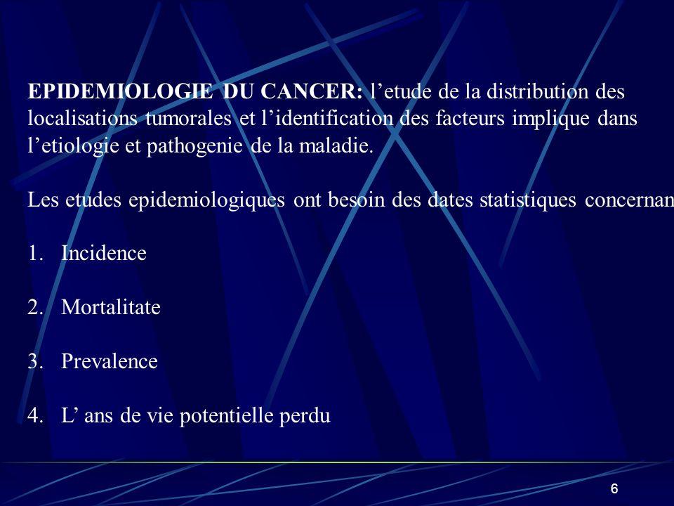 6 EPIDEMIOLOGIE DU CANCER: letude de la distribution des localisations tumorales et lidentification des facteurs implique dans letiologie et pathogeni