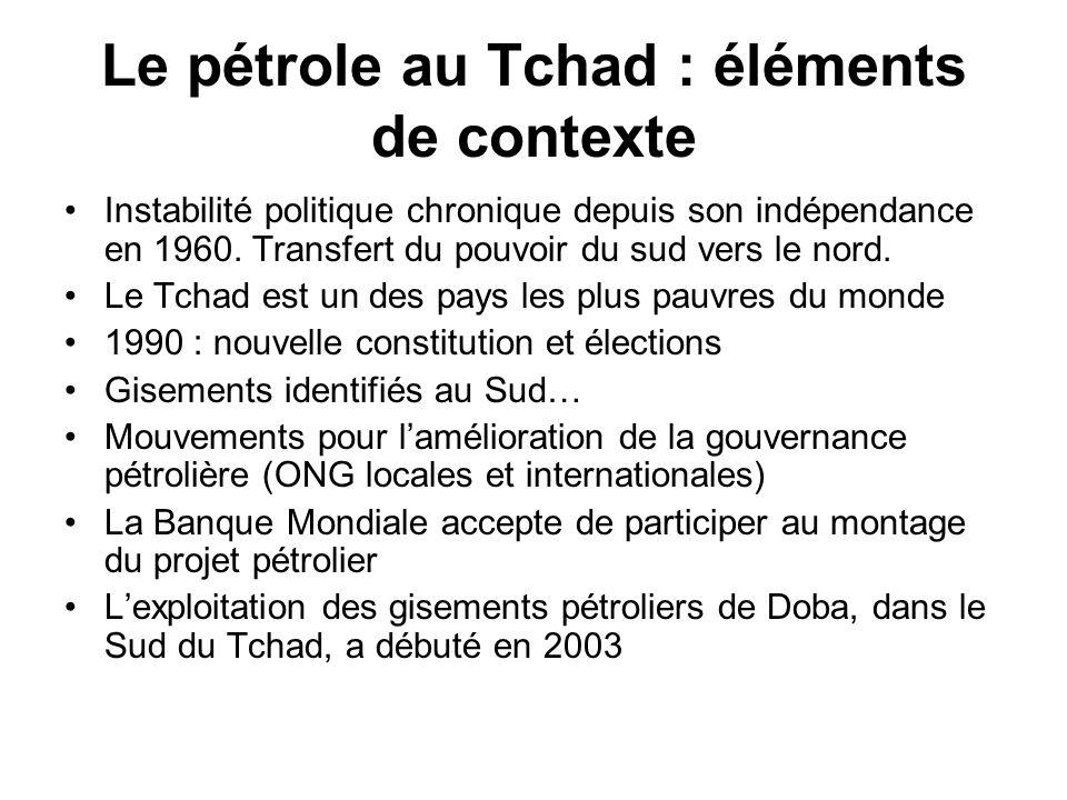 Le pétrole au Tchad : éléments de contexte Instabilité politique chronique depuis son indépendance en 1960.