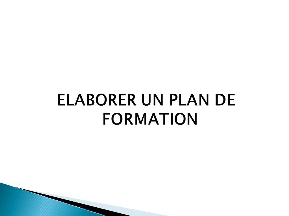 ELABORER UN PLAN DE FORMATION