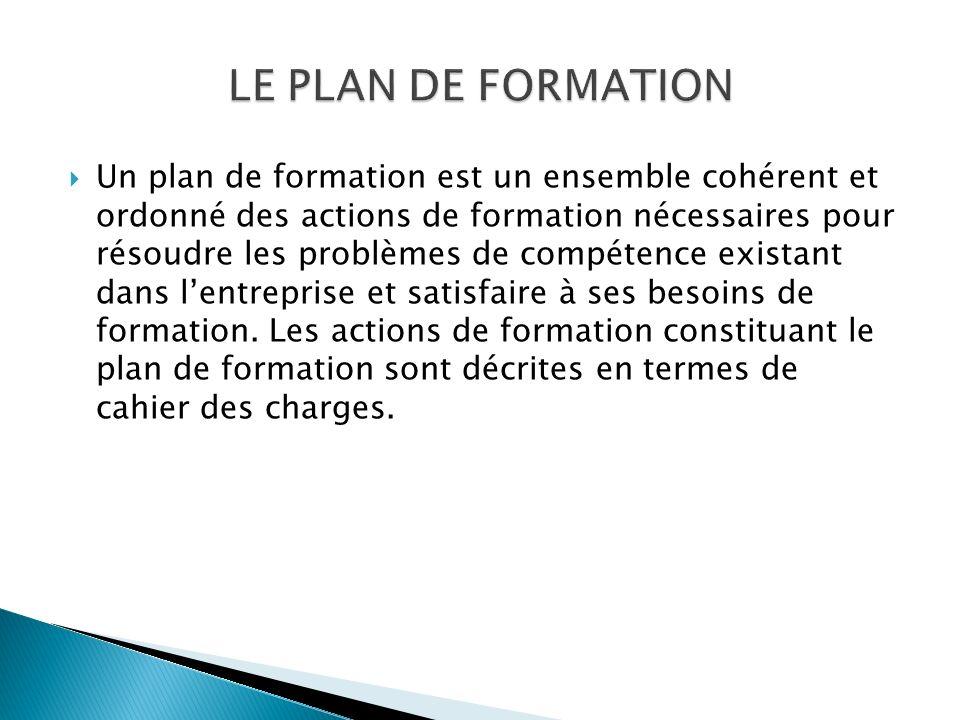 Un plan de formation est un ensemble cohérent et ordonné des actions de formation nécessaires pour résoudre les problèmes de compétence existant dans lentreprise et satisfaire à ses besoins de formation.