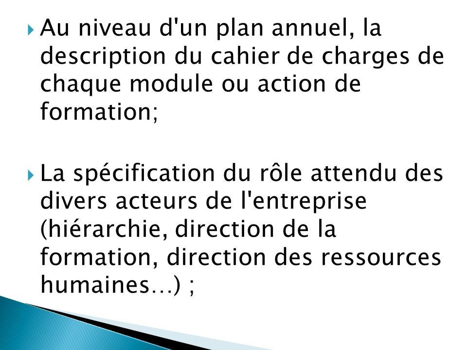 Au niveau d un plan annuel, la description du cahier de charges de chaque module ou action de formation; La spécification du rôle attendu des divers acteurs de l entreprise (hiérarchie, direction de la formation, direction des ressources humaines…) ;