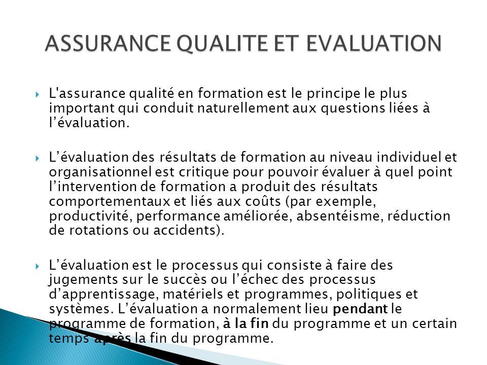 L assurance qualité en formation est le principe le plus important qui conduit naturellement aux questions liées à lévaluation.