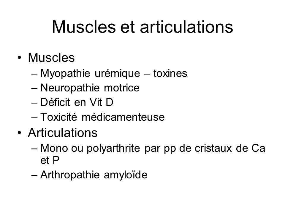 Muscles et articulations Muscles –Myopathie urémique – toxines –Neuropathie motrice –Déficit en Vit D –Toxicité médicamenteuse Articulations –Mono ou