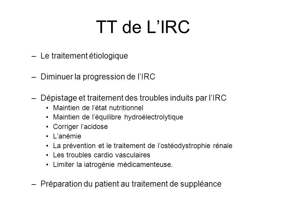 TT de LIRC –Le traitement étiologique –Diminuer la progression de lIRC –Dépistage et traitement des troubles induits par lIRC Maintien de létat nutrit