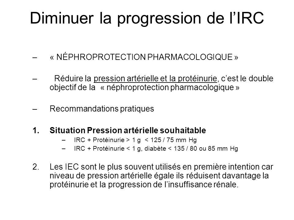 Diminuer la progression de lIRC –« NÉPHROPROTECTION PHARMACOLOGIQUE » – Réduire la pression artérielle et la protéinurie, cest le double objectif de l