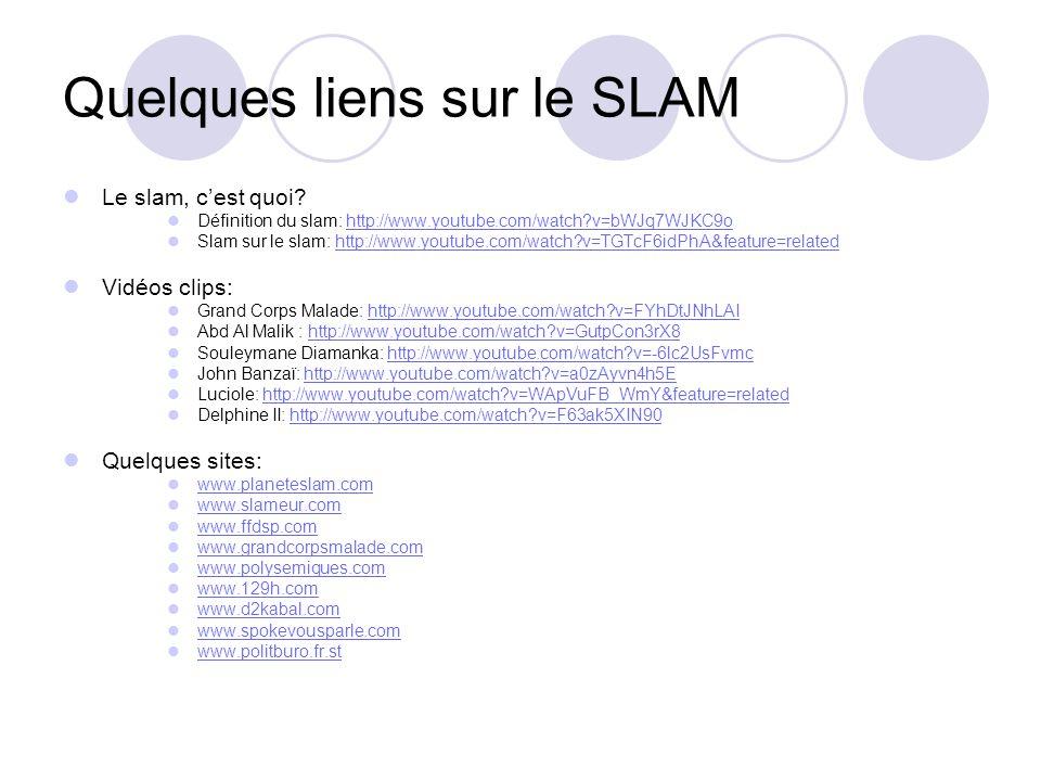 Quelques liens sur le SLAM Le slam, cest quoi? Définition du slam: http://www.youtube.com/watch?v=bWJq7WJKC9ohttp://www.youtube.com/watch?v=bWJq7WJKC9