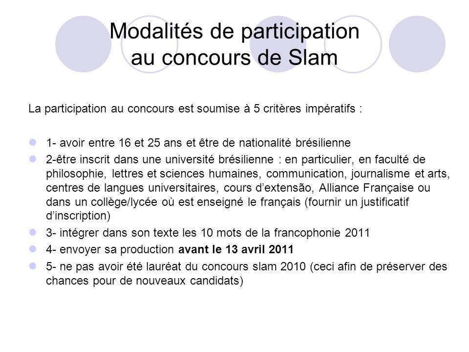 Modalités de participation au concours de Slam La participation au concours est soumise à 5 critères impératifs : 1- avoir entre 16 et 25 ans et être