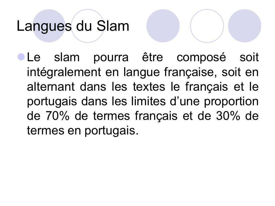 Langues du Slam Le slam pourra être composé soit intégralement en langue française, soit en alternant dans les textes le français et le portugais dans