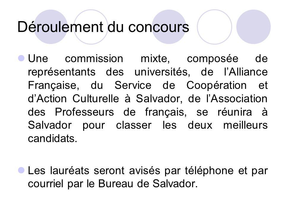 Déroulement du concours Une commission mixte, composée de représentants des universités, de lAlliance Française, du Service de Coopération et dAction